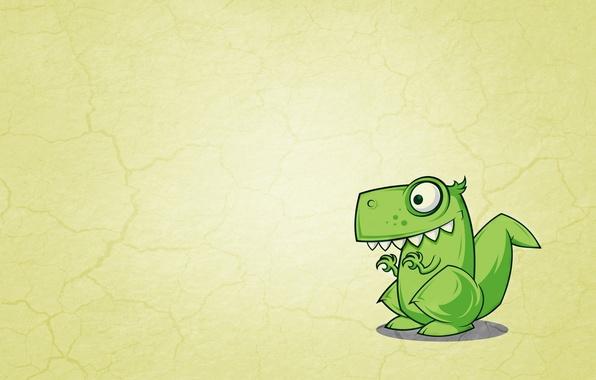 Картинка зеленый, динозавр, минимализм, желтый фон, Dinosaur, зубастый