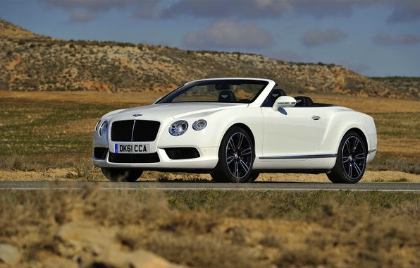 Картинка Bentley, Continental, Белый, Кабриолет, Фары, GTC, Передок