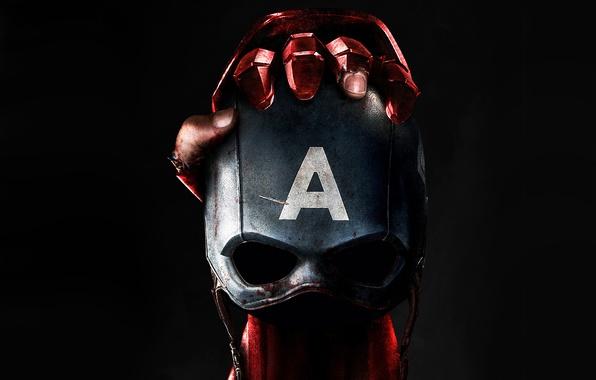 Картинка фантастика, рука, маска, черный фон, постер, Iron Man, комикс, Captain America, MARVEL, Captain America: Civil ...