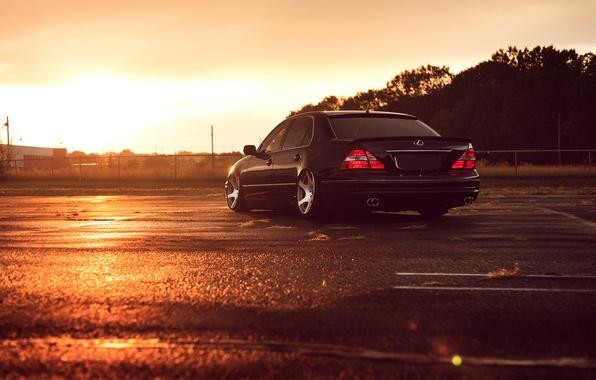 Картинка Lexus, Black, Color, Sunset, JDM, Stance, Low, Rear, LS 430