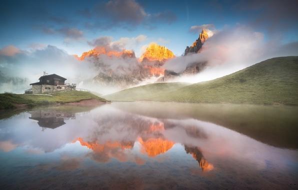 Картинка горы, озеро, утро, дымка