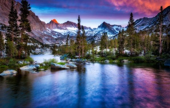 Картинка зима, снег, горы, природа, река
