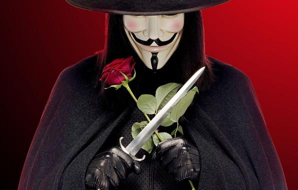 Картинка роза, шляпа, перчатки, кинжал, черный фон, плащ, красный фон, V значит Вендетта, и он прекрасен …