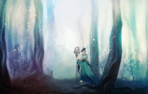 Картинка лес, девушка, деревья, маска, посох