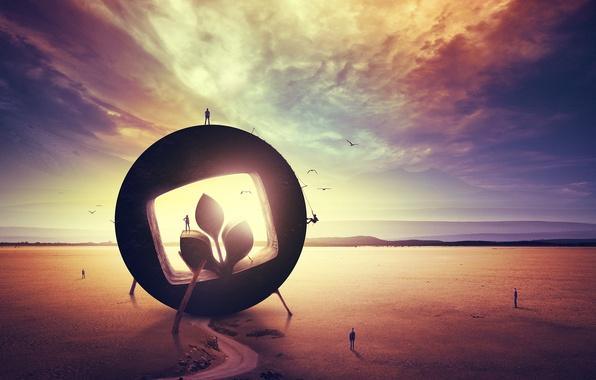 Картинка дорога, небо, облака, птицы, люди, пустыня, эмблема, desktopography