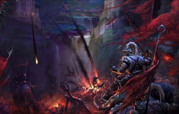 Картинка огонь, война, крепость, воины, штурм, катапульты, осада, perfect world