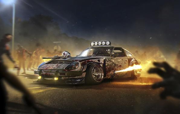 Картинка Halloween, Zombie, Fire, Datsun, Tuning, Future, 240Z, by Khyzyl Saleem