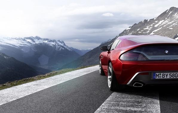 Картинка небо, горы, красный, купе, BMW, БМВ, вид сзади, Coupe, Zagato, Загато