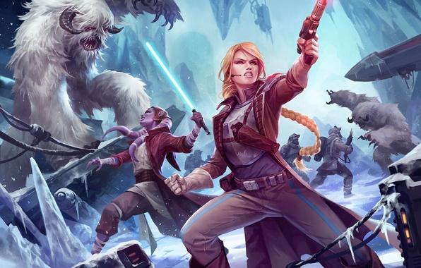 Картинка лед, оружие, девушки, Star Wars, арт, монстры, битва, световой меч