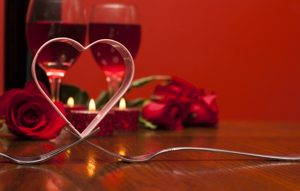 Картинка любовь, вино, розы, бокалы, red, love, heart, romantic, Valentine's day, roses