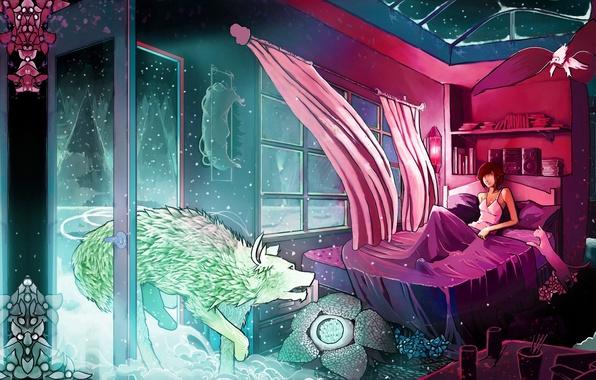 Картинка кошка, цвета, свет, снег, деревья, цветы, комната, животное, ветер, птица, узоры, книги, окна, кровать, волк, …