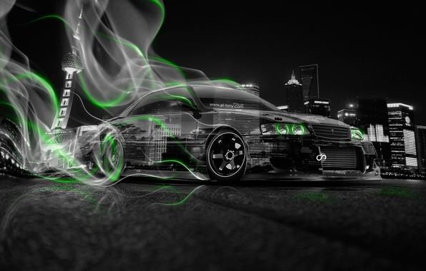 Картинка Авто, Ночь, Город, Дым, Неон, Зеленый, Машина, City, Дрифт, Toyota, Drift, Car, Art, Фотошоп, Green, ...