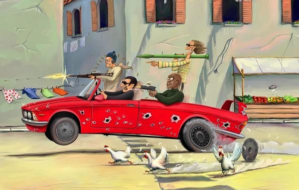 Картинка машина, оружие, улица, рисунок, окна, погоня, юмор, бандиты, мужики, курицы