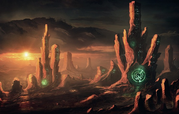 Картинка солнце, круги, закат, город, скалы, планета, дома, арт