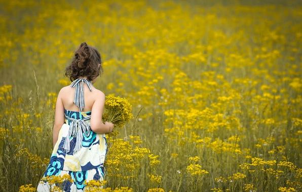 Картинка поле, цветы, дети, фон, widescreen, обои, настроения, ребенок, платье, брюнетка, девочка, wallpaper, цветочки, flower, широкоформатные, …