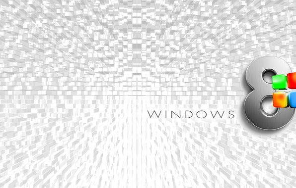 Картинка компьютер, обои, логотип, эмблема, windows, объем, квадрат, операционная система