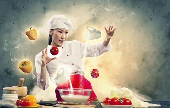 Картинка девушка, креатив, молоко, повар, овощи, помидоры, мука, перчик, готовка