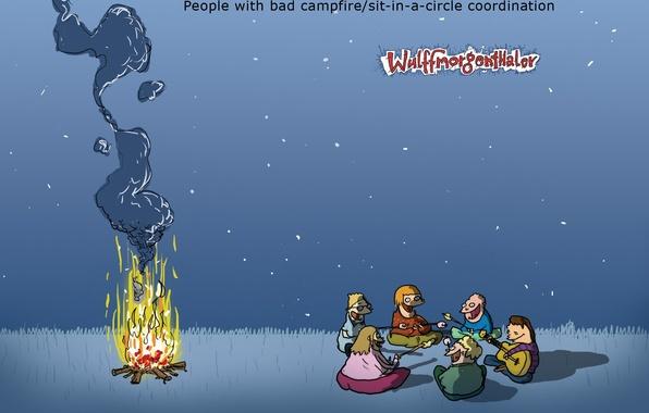 Картинка юмор, Wulffmorgenthaler, костер, карикатура, пикник