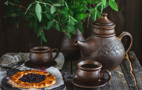 Картинка чай, чайник, пирог, чашки, посуда, натюрморт, выпечка