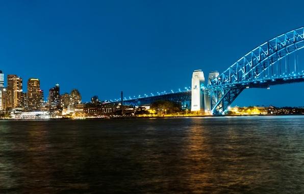 Картинка мост, Австралия, панорама, залив, Сидней, ночной город, Australia, Sydney, Sydney Harbour Bridge, Harbour Bridge, Харбор-Бридж, …