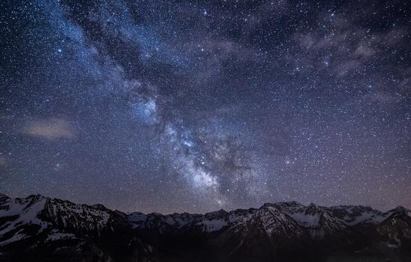 Картинка небо, звезды, горы, ночь, Германия, Бавария, Млечный Путь, sky, Germany, night, mountains, stars, Bavaria, Milky …