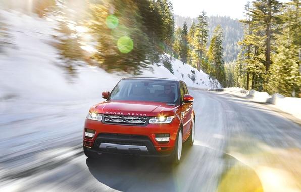 Картинка Красный, Дорога, Машина, Land Rover, Range Rover, Блик, Sport, Передок, В Движении