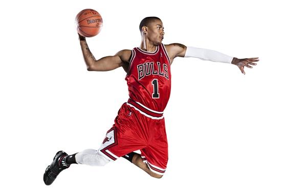 Картинка Белый, Мяч, Баскетбол, Фон, Форма, Татуировка, Adidas, NBA, Chicago Bulls, Derrick Rose, Быки, Первый, Slam …