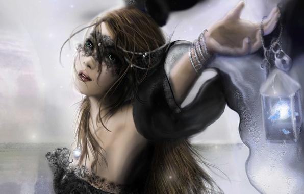Картинка взгляд, девушка, свет, лицо, фантастика, волосы, руки, маска, фонарь, браслет, черное платье, валькирия, Valkyrie