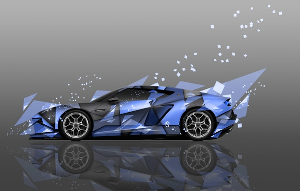 Картинка Цвет, Авто, Дизайн, Синий, Lamborghini, Машина, Стиль, Синяя, Обои, Голубой, Осколки, Арт, Art, Абстракт, Auto, …