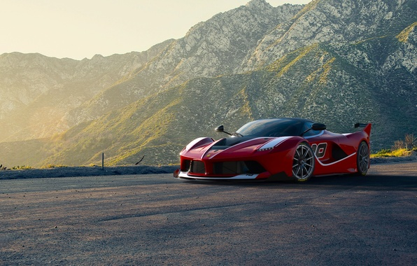 Картинка Ferrari, Red, Race, Front, Sun, Sunset, Road, Supercar, FXX K, Moutian