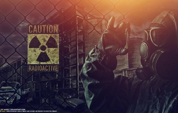Картинка машины, ночь, страх, одежда, забор, радиация, противогаз, опасно, Radioactive, радиоактивность