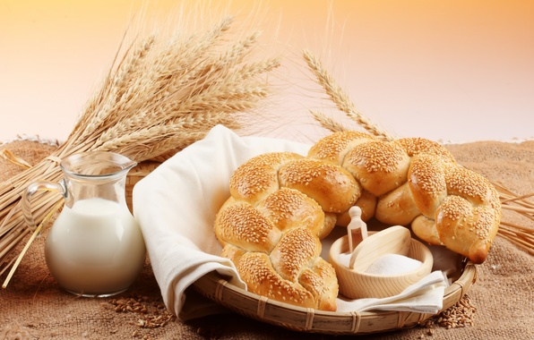 Картинка пшеница, зерно, молоко, хлеб, колосья, кувшин, кунжут, мука, калач