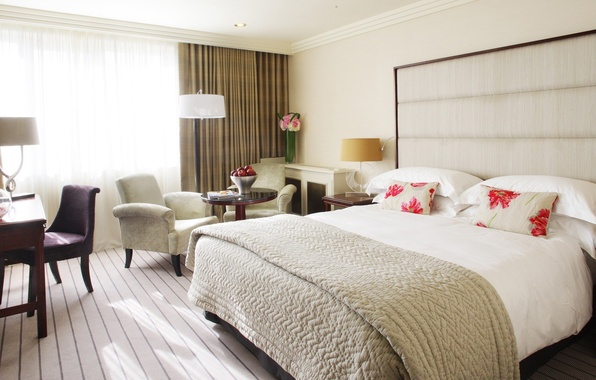 Картинка дизайн, стиль, стол, комната, кровать, интерьер, кресло, подушки, ваза, фрукты, спальня