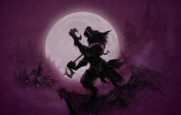 Картинка Луна, Moon, Wolves, Оборотень, Purple