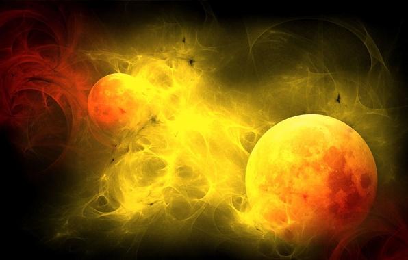 Картинка солнце, свет, пламя, обои, планета, шар, спутник, полумрак