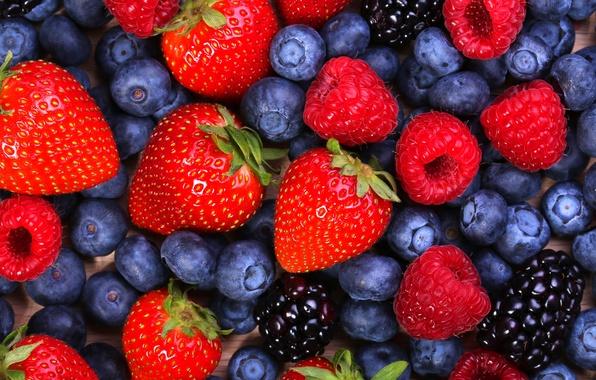 Картинка ягоды, малина, черника, клубника, ежевика, berries, blueberries, strawberries, blackberries, raspberries