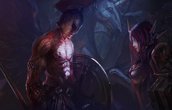 Картинка девушка, конь, крылья, воин, арт, шлем, мужчина, статуя, щит, копьё, доспех, chenbo