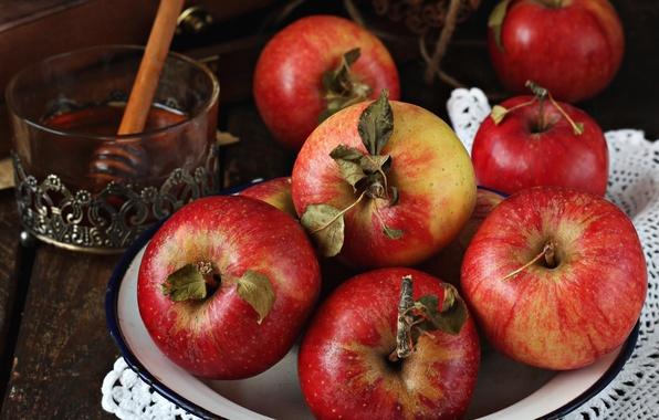 Картинка яблоки, мед, фрукты