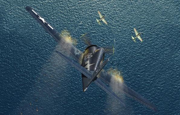 Картинка море, небо, вода, атака, рисунок, истребитель, арт, стрельба, гильзы, американский, самолёты, японские, палубный, WW2, Хеллкэт, …