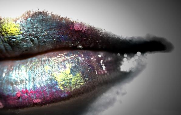 Картинка цвета, девушка, стиль, губы, серый фон, мода, color, lips