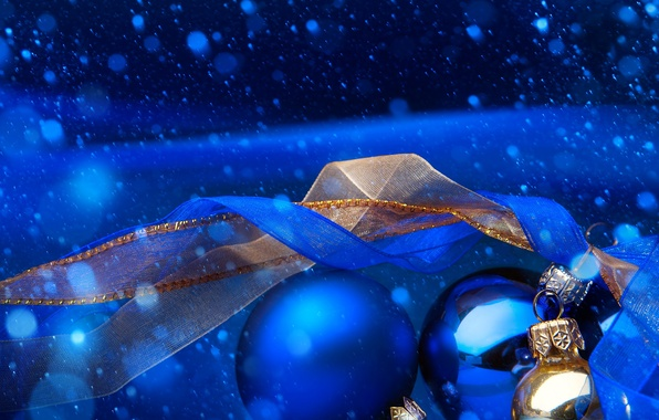 Картинка зима, снег, синий, ленты, шары, Новый год, New Year
