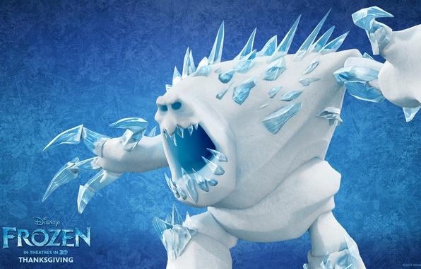 Картинка холод, зима, снег, мультфильм, лёд, снеговик, Frozen, ёлка, дисней, холодное сердце, Маршмеллоу