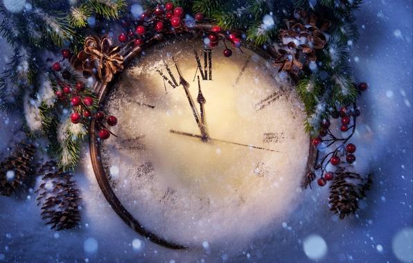 Фото обои Новый Год, праздник, снег, зима, clock, New Year, Christmas, Рождество