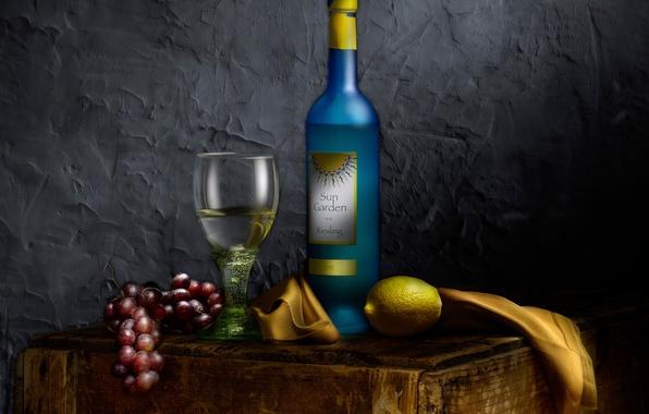 Картинка вино, лимон, бокал, виноград, натюрморт, Bottle of wine