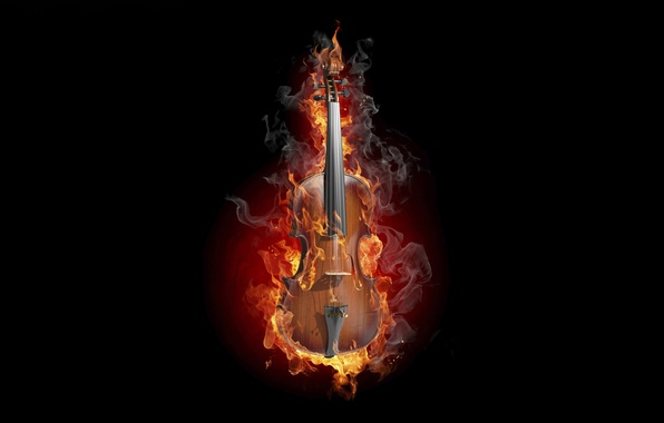 Картинка креатив, огонь, скрипка, дым