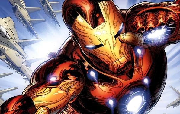 Фото обои железный человек, iron man, marvel, comics, robot, комикс