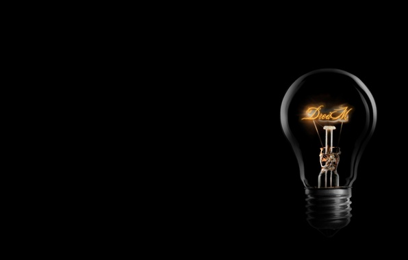 Картинка мечта, лампочка, свет, чёрный, dream, лампа накаливания