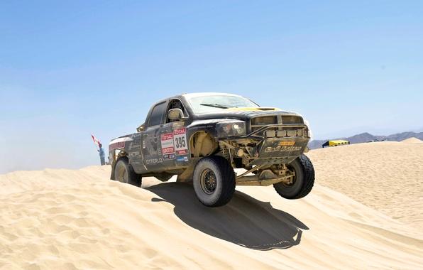 Картинка Песок, Авто, Спорт, Пустыня, Машина, Додж, Гонка, День, Джип, Жара, Rally, Dakar, Внедорожник, Ралли, Дюна, ...