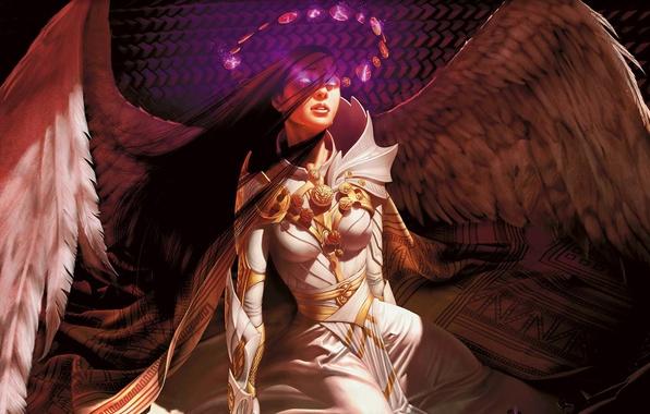 Картинка девушка, магия, крылья, ангел
