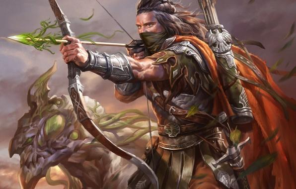 Картинка монстр, лук, арт, повязка, стрела, мужчина, лучник, legend of the cryptids